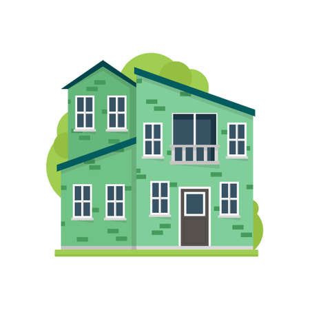 Green paint residential house in modern safe village 矢量图片
