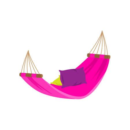 Hamaca textil púrpura colorida en la piscina de la casa del patio