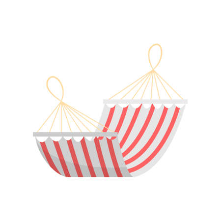 Red white striped textile summer home hammock or for beach use. Cartoon style. Vector illustration on white background