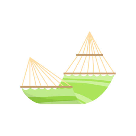 Green lime hammock with yellow wire and wood bars for home design. Cartoon style. Vector illustration on white background