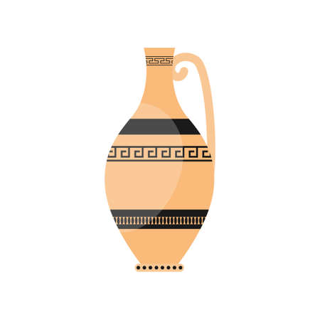 Classic greek ceramic pottery vase with ancient ornament Illustration