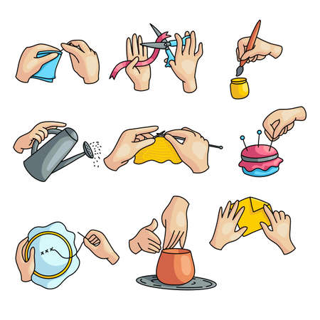 Creative hobby action by hands, like sewing, pottery, paint, modeling. Cartoon style. Vector illustration on white background