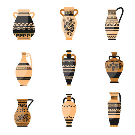 Set of ancient, ornamethal, old greek or rome vase Illustration