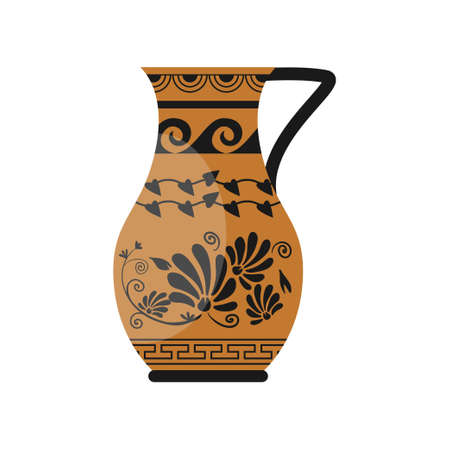 Ceramic classic greek jug with flower, wave ornament