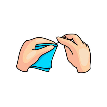 Hobby sewing a blue textile material in kid hands at school or home. Cartoon style. Vector illustration on white background