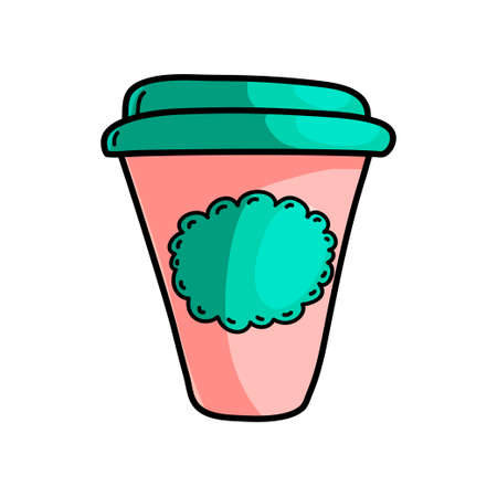 Morning hot coffee, red and green plastic cup on road to work. Cartoon style. Vector illustration on white background