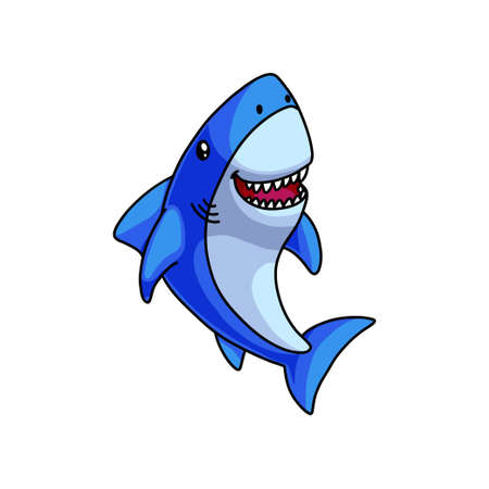 Cute colorful blue grey shark laughs with open mouth, comic type. Cartoon style. Vector illustration on white background Standard-Bild - 123746008