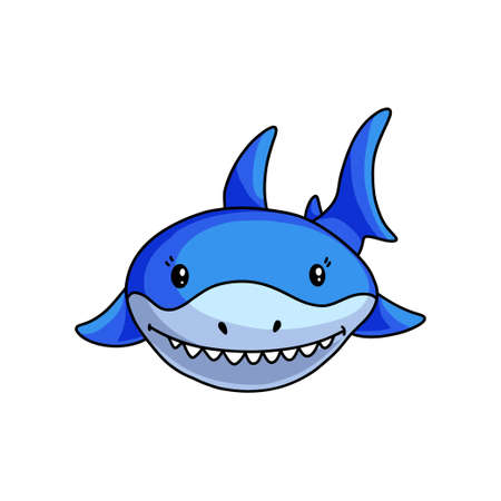 Front face of blue shark that shows white teeths in deep ocean. Cartoon style. Vector illustration on white background Ilustração