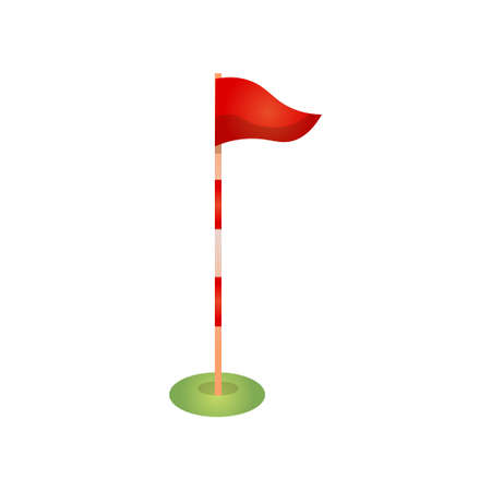 Red golf flag pole with marks and wind direction Illusztráció