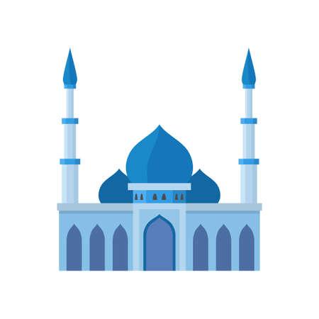 Moschea edificio illustrazione vettoriale di colore blu. Illustrazione vettoriale su sfondo bianco