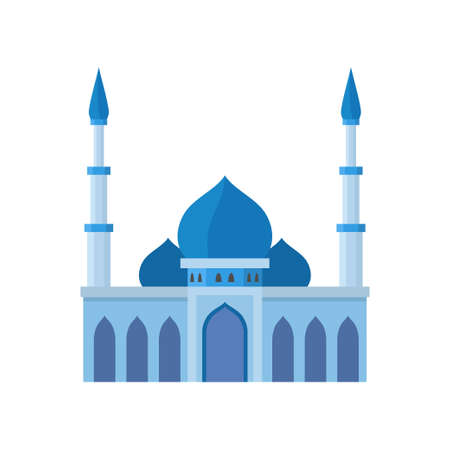 Mosque building blue color vector illustration. Vector illustration on white background