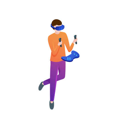 Modern boy play action game in vr headset at home room. Isometric style. Vector illustration on white background Illustration