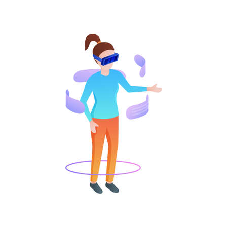 Girl fashion wear vr glasses and chat social friends at home room. Isometric style. Vector illustration on white background