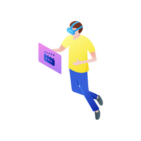 Young boy watch online movie in vr goggles at home in room. Isometric style. Vector illustration on white background