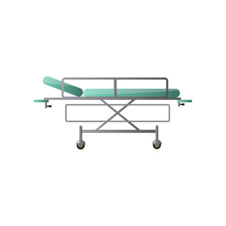 Modern adjustable medical hospital bed with green mattress for chirurgical section. Cartoon style. Vector illustration on white background Stock Illustratie
