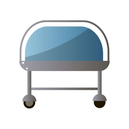 Front of hospital bed with blue color from recovery section for healthy patient. Cartoon style. Vector illustration on white background Illustration
