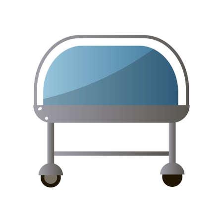 Vorderseite des Krankenhausbettes mit blauer Farbe aus dem Erholungsbereich für gesunde Patienten. Cartoon-Stil. Vektorillustration auf weißem Hintergrund