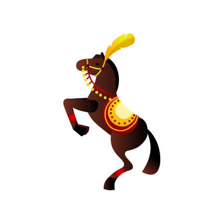 Brown awesome circus horse with red ribbon and gold saddle stand up in two legs. Cartoon style. Vector illustration on white background Ilustração