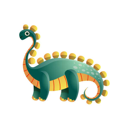 Cute green colorful stegosaurus dinosaur from prehistoric period Illustration