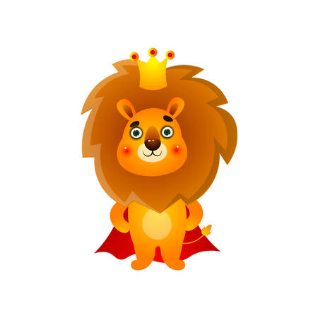 Cute kid lion king with gold crown and red mantle Vectores