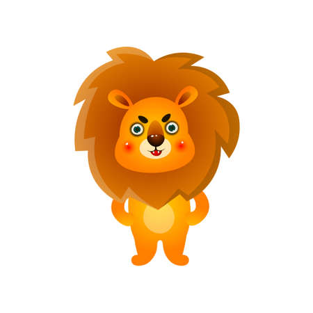 Nervous cute colorful kid lion after morning wake up