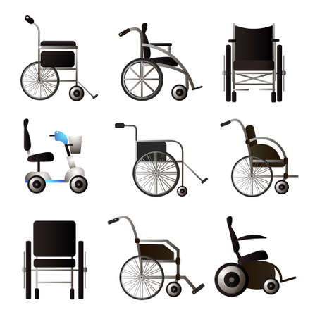 Set of modern wheel chair different type and model for home or hospital. Cartoon style. Vector illustration on white background Illusztráció