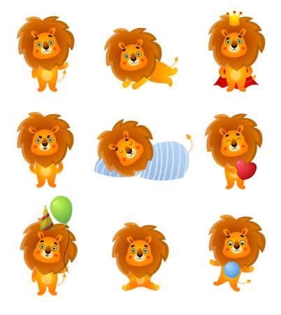 Set of cute different character lion, poses and emotion for holiday animation. Cartoon style. Vector illustration on white background