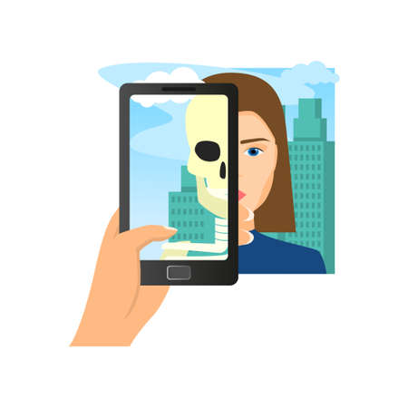 Augmented reality using smartphone saw woman skull at city landscape. Flat style. Vector illustration on white background