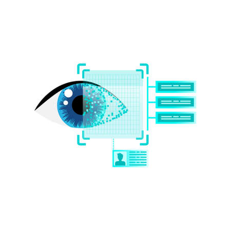 Human eyeball scan reading security information for work