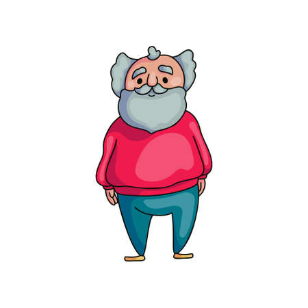 Funny old senior man with long grey beard with cute smile. Cartoon style. Vector illustration on white background
