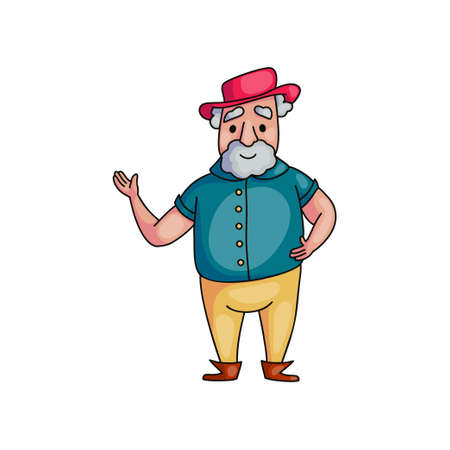 Old senior man with red hat say hello to new part of life. Cartoon style. Vector illustration on white background