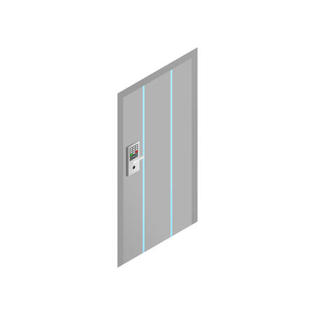 Modern door with biometric scan code for office building or secret corporation. Isometric style. Vector illustration on white background