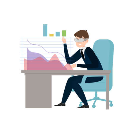 Businessman use virtual glasses to analyze business graph at work building. Flat style. Vector illustration on white background