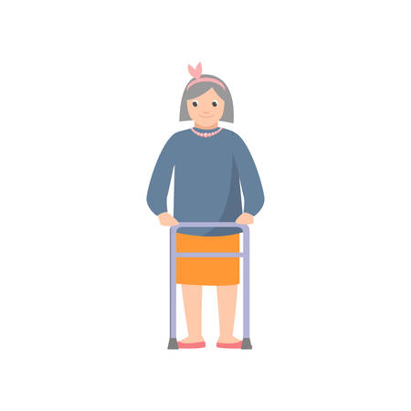 Cute smiling old woman with pearl necklace using metal walker to move into the room. Flat style. Vector illustration on white background