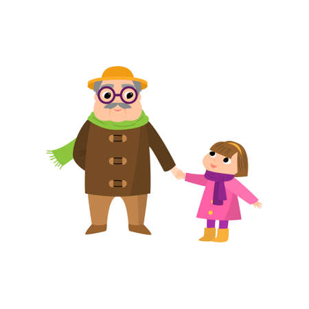 Old senior grandfather with yellow hat take nephew girl and go walking in city park. Flat style. Vector illustration on white background 일러스트