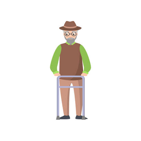 Old man in eyeglasses, green shirt with metal walker Ilustração