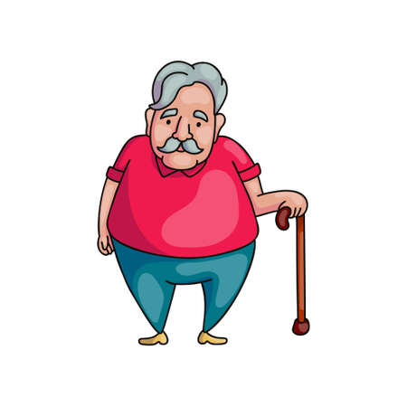 Senior fat old man with grey hair in wood walking stick waiting his train. Cartoon style. Vector illustration on white background Ilustração