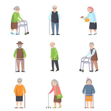 Conjunto de ancianos en diferentes poses con objeto adicional de casas antiguas. Estilo plano. Ilustración vectorial sobre fondo blanco