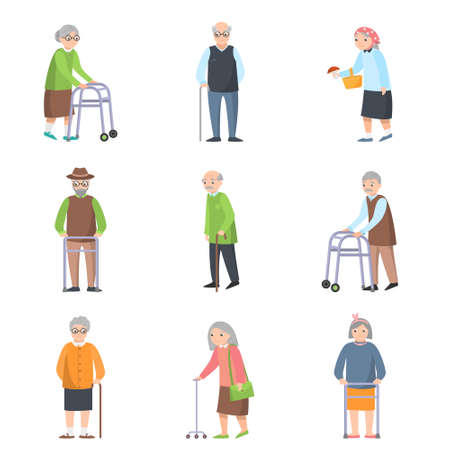 Set of old people in different poses with additional object from old homes. Flat style. Vector illustration on white background