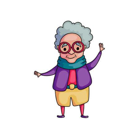 Danse mignonne à la femme senior de vacances en veste violette avec des lunettes de mode rouges. Style de bande dessinée. Illustration vectorielle sur fond blanc