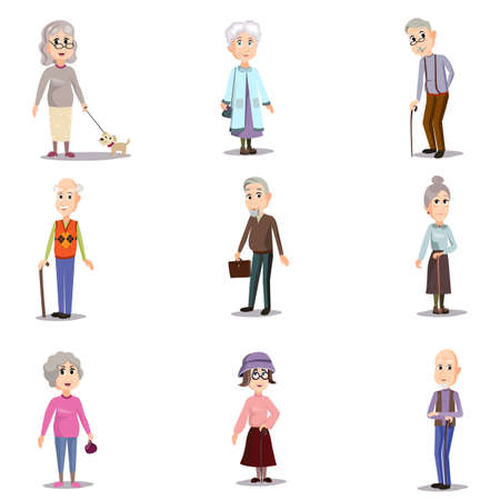 Set of senior character old modern woman and man in different situations. Cartoon style. Vector illustration on white background