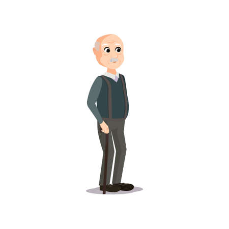 Cute bald old man with retro clothes in wood walking stick. Cartoon style. Vector illustration on white background Illustration