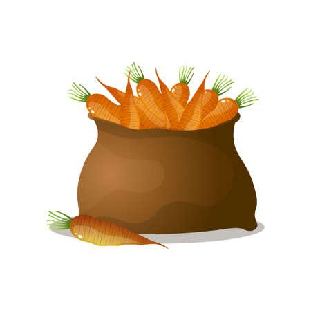 Saco marrón lleno de zanahorias naranjas, frescas y ecológicas de granja natural. Estilo de dibujos animados. Ilustración vectorial sobre fondo blanco