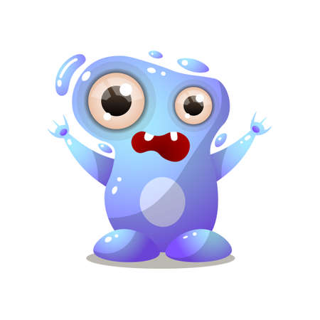 Cute blue water monster with big eyes, hands up