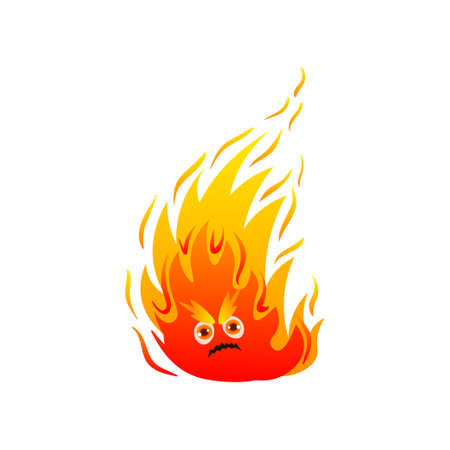 Hot fire monster with cute eyes and long flame Illustration