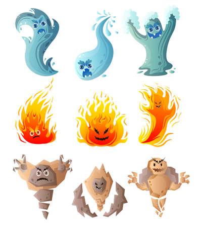 Set di acqua carina, fuoco, mostro di terra, personaggio comico per le vacanze dei bambini. Stile cartone animato. Illustrazione vettoriale su sfondo bianco Vettoriali