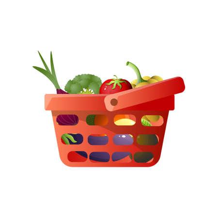 Red shopping basket with fresh vegetables, tomato, onion, eggplant, broccoli, paprika . Cartoon style. Vector illustration on white background
