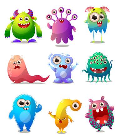 Ensemble de monstres colorés, costume d'animateur, personnage comique