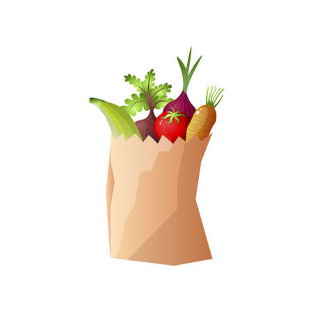 Small paper package of fruits or vegetables, onion, banana