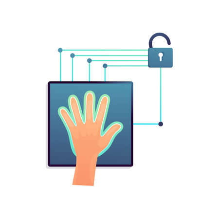Déverrouillez l'appareil ou la porte avec une numérisation à la main entière, pour un bureau ou une société secrète. Style plat. Illustration vectorielle sur fond blanc Vecteurs